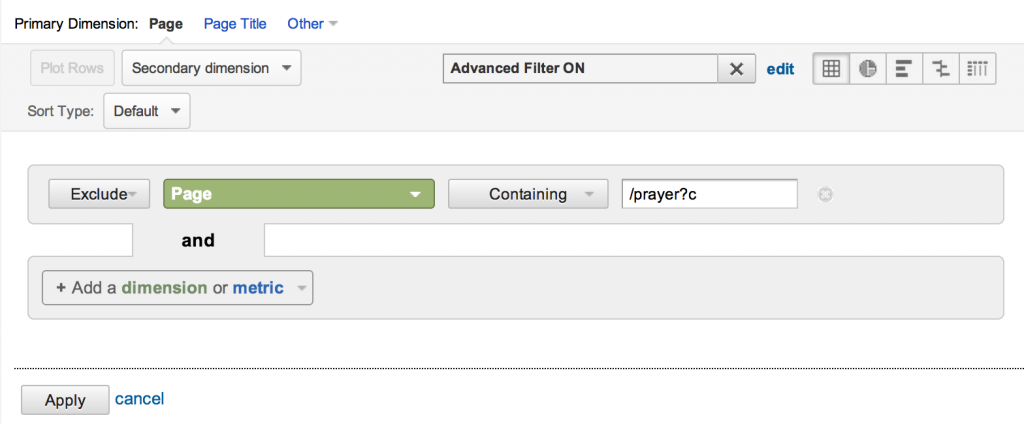 Removing the paged Prayer url form the results.