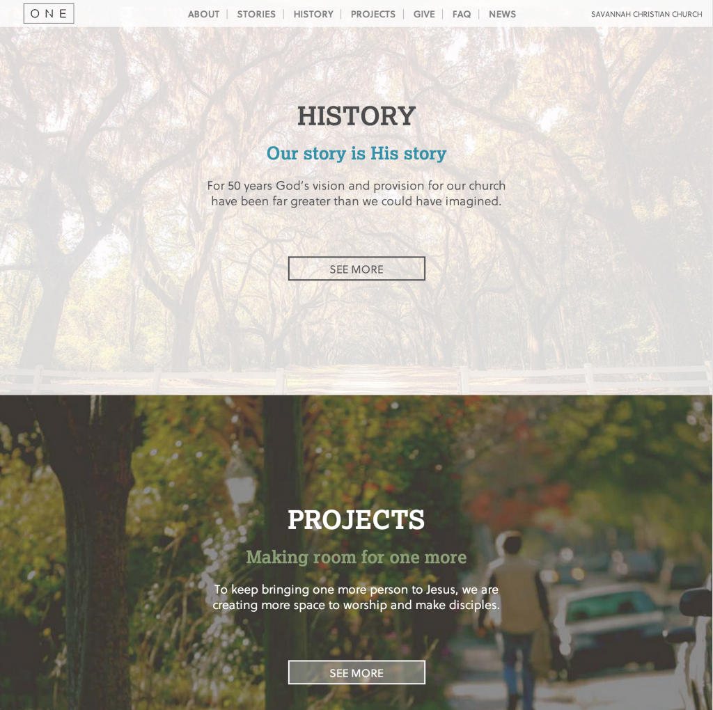 Two Sections of the homepage parallax effect.